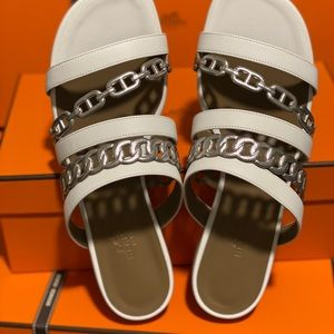 Hermes Amalfi sandal size7 Blanc/Gris Argenté